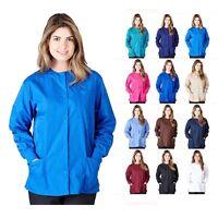 Womens 3 Pocket Warm Up Scrub Jacket Medical Hospital Uniform XS S M L XL 2XL