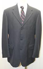 Tommy Hilfiger 100% Virgin Wool Dark Blue Pin Stripe Made in Canada 3 Button 40R