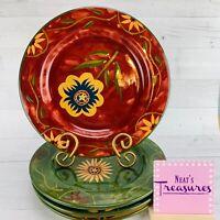 Certified International Susan Winget SAVANNAH Emboss Floral Dinner Plate Set 4