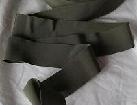 "10 Yards 2"" army green vtg cotton rayon grosgrain petersham ribbon millinery hat"