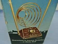 VINTAGE MID-CENTURY REMBRANDT RADARCOIL TV ANTENNA ALL CHANNEL VHF & UHF WALNUT