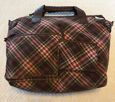 Aldo Purse / Handbag Wool & Leather Pink & Brown  Plaid Large, Deep Many Pockets