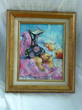 Original Mollie Bergman Painting on Canvas Still Life Fruit Floral Pottery Glass