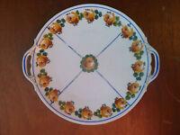 Ancienne assiette, plat décor de fleur  M.Frères France Limoges art populaire