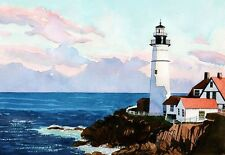 Portland Head Light Sunset & Night, Maine Coast Lighthouse. Watercolor Notecards