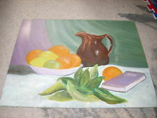 Painting kitchen fruit book & pitcher farm estate chic flat canvas still life