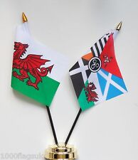 Wales & Pan Celtic Nations Double Friendship Table Flag Set