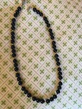 "STERLING SILVER 19"" PEARL ONYX RESIN NECKLACE Silver Clasp Gold Dip Beads"