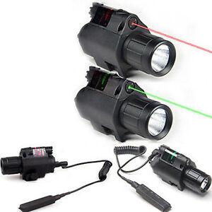 Combo LED Flashlight Green/Red Laser Sight For Pistol/gun Handgun 20mm Rail