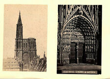 SET OF TWO ALBUMEN PHOTOS OF STRASBOURG CATHEDRAL DOOR   FROM AFAR