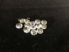 """13 ea Murano Crystal Clear Glass Beads Prism Chandelier Parts, 3/8"""" Diameter"""