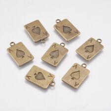 35 pcs Retro Bronze Alloy Poker Cards In Hand Jewelry Pendant Charm 22x15x4mm
