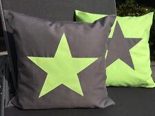 1 Kissenhülle *Kissenbezug *Landhausstil * Stern * grau/grün 50x50cm.