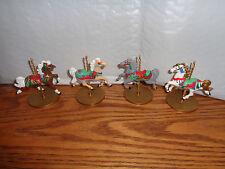 4 - 1989 Vintage - Carousel Horses -  Hallmark Ornaments - Holly - Snow - Star