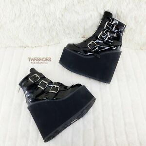 "Demonia Swing 105 Black Patent Multiple Buckle Ankle Boot 5.5"" Platform NY"