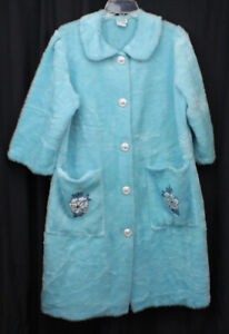 Vtg Montgomery Ward Robe Housecoat Fuzzy Blue Nylon Cotton Retro 50s 60s M