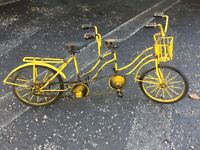 """A Handmade Model of Tandem Bicycle - apron 24""""Lx11""""H"""