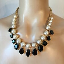 NWT St John Knit necklace designer gold black stones & pearls