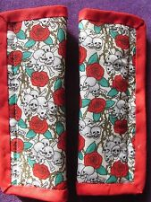Lightly padded, Sculls & Roses, Car Seat Belt Cover Pads. X2