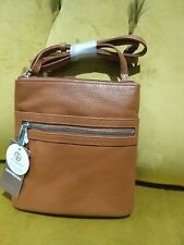 Brown leather cross body bag triple zip , leather , NEW , RRP £ 59