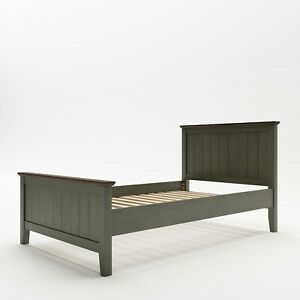 Yihua Life Joslyn Modern Single Bed Solid Wood Bed Frame in Gunmetal Grey
