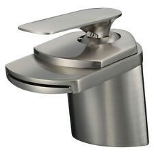"""4"""" Waterfall Bathroom Faucets Brushed Nickel Vessel Lavatory One Hole/Handle Tap"""