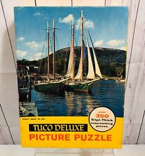 VTG TUCO DELUXE JIGSAW PICTURE PUZZLE Ready To Sail Boat Triple Thick Pieces 350