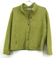 Chicos Design Womens Lime Green Button Front Jacket Pockets Long Sleeves Size 2