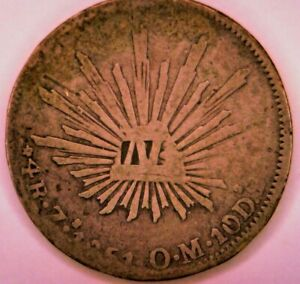 1851 ZsOM silver Mexico four reales (4 real), with 'N' countermark, VG, L27