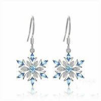 Elegant 925 Silver Aquamarine Snowflake Earrings Drop Dangle Christmas Jewelry