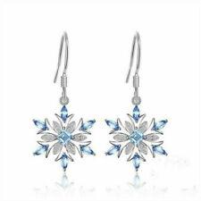 Earrings Women's Christmas Jewelry Gift Elegant 925 Silver Aquamarine Snowflake