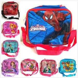 Kids Insulated Lunch Bag Pack Box Removable Shoulder Strap Bag Girls Boys