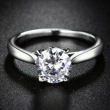 Certified 2.00 Ct 14K White Gold Round Cut Moissanite Solitaire Engagement Ring