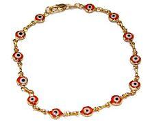 Evil Eye Anklet Foot Chain 18K Gold Plated  Ankle Charms Bracelet 9.5  Tobillera