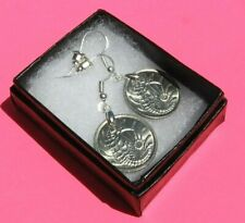 SEAHORSE Singapore Authentic Dangle Vintage Coin Earrings & Box Handmade in USA