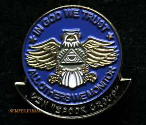 SPOOK GROUP HAT PIN US NAVY NAVAL INTELLIGENCE IN GOD WE TRUST EAGLE USS INTEL