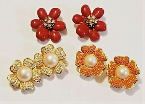 3 Piece Joan Rivers Gold Plated Mixed Style Flower Theme Clip-on Earring Lot