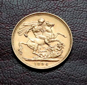 1896 GREAT BRITAIN QUEEN VICTORIA GOLD FULL SOVEREIGN
