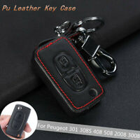 2 Buttons Key Leather Auto Fob Cover Case For Peugeot 301 308S 408 508 2008