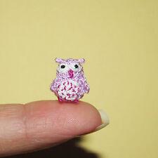 Handmade Artist Miniature ooak bear purple OWL dollhouse crochet animal bird toy