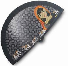 Eventail en bois  et tissu coton noir et gris , motif indou, 23 x 43 cm