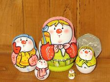 Russian Tiny Nesting Doll 5 House MINIATURE SNOWMAN MATRYOSHKA LATISHEVA
