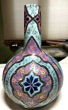 Gorgeous Thomas Webb England Moroccan Enameled Art Glass Bulbous Vase