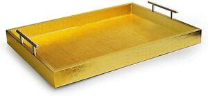 "American Atelier Alligator Platter Serving Tray w/ Handles, 14 x 19"", Gold"