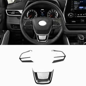 Steering Wheel Cover Trim For Toyota Highlander 2020 2021 2022 Carbon Fiber