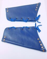 Blue 2 Pieces Genuine Real Leather Gauntlet Cuff Wristband Arm Band 01 Pair