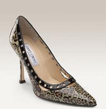 NIB $630+ Jimmy Choo ERIN LEOPARD Print Patent Taupe Pump Shoe Heels Sz 36.5 - 6