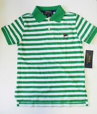 Ralph Lauren Boys Striped Short Sleeve Pocket Polo Shirt Stem Multi Sz 3/3T-NWT