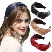 Mode Femmes PU Cuir Cravate Serre-Tête Large Alice Cheveux Bande Accessoires