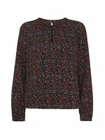 WHISTLES Ladies Black Multi Relaxed Starflower Print Top UK8 RRP 99.00 BNWT